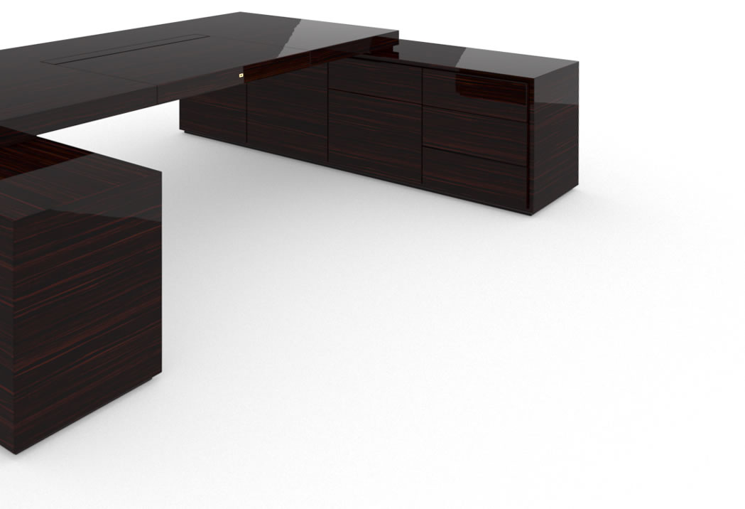 FELIX SCHWAKE DESK IV II 2 Sideboards High Gloss Makassar Ebony Black Precious Wood Mirror Polish Piano Finish Noble Large Desk with Two Sideboards for PC Printer