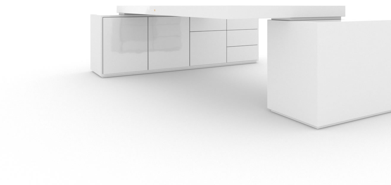 FELIX SCHWAKE DESK IV II 2 Sideboards High Gloss White Lacquer Mirror polished Piano Finish Minimalist Large Desk with Two Sideboards for PC Printer