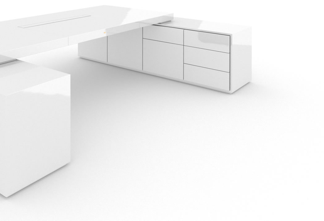 FELIX SCHWAKE DESK IV II 2 Sideboards High Gloss White Lacquer Mirror polished Piano Finish Modern Large Desk with Two Sideboards for PC Printer