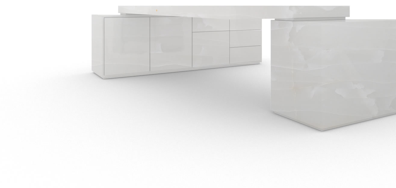 FELIX SCHWAKE DESK IV II 2 sideboards onyx marble white modern large chief desk with 2 technology sideboards for pc printer