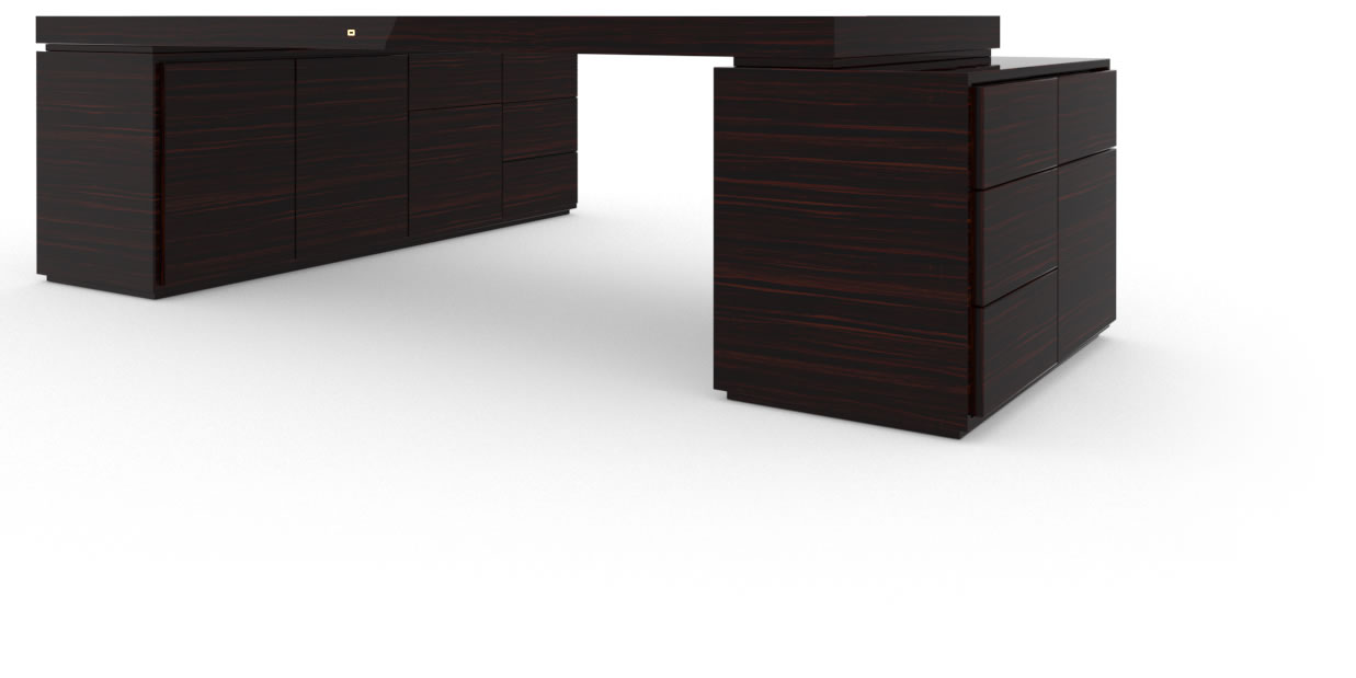 FELIX SCHWAKE DESK IV II I 2 Sideboards High Gloss Makassar Ebony Black Precious Wood Mirror Polish Piano Finish Customize Big Corner Desk with Two Sideboards for PC Printer