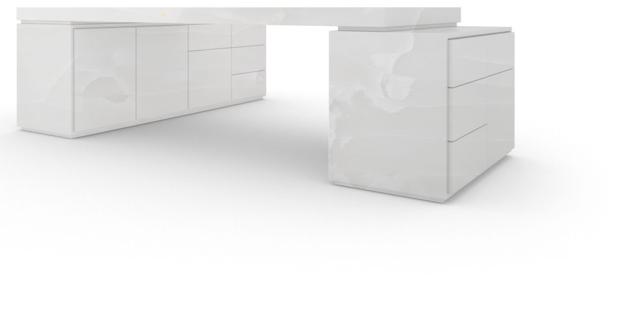 FELIX SCHWAKE DESK IV II I 2 sideboards onyx marble white modern large corner desk with 2 technology sideboards for pc printer