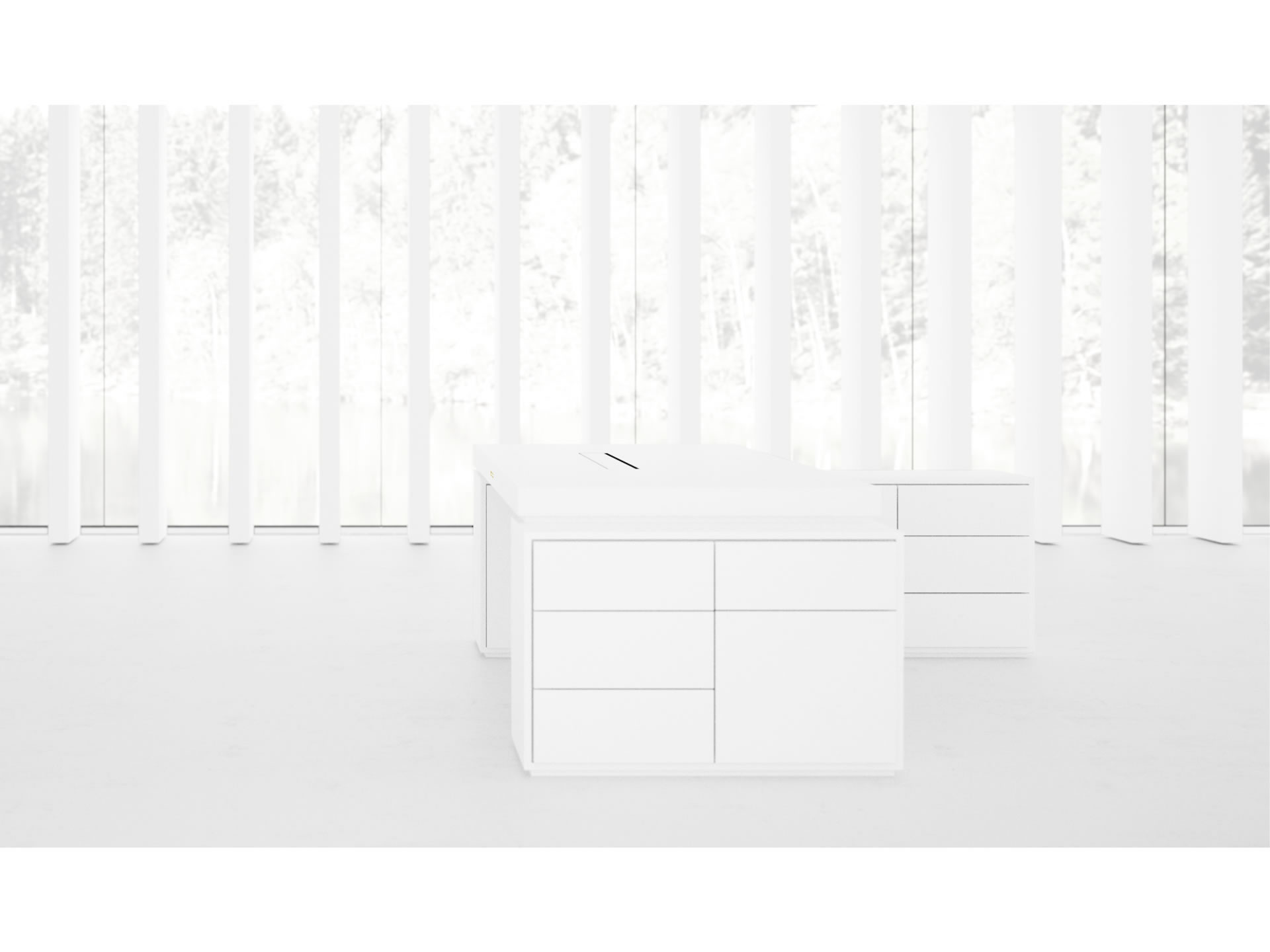 FELIX SCHWAKE DESK IV II I Sublime White Big Corner Desk with Two Sideboards for PC Printer