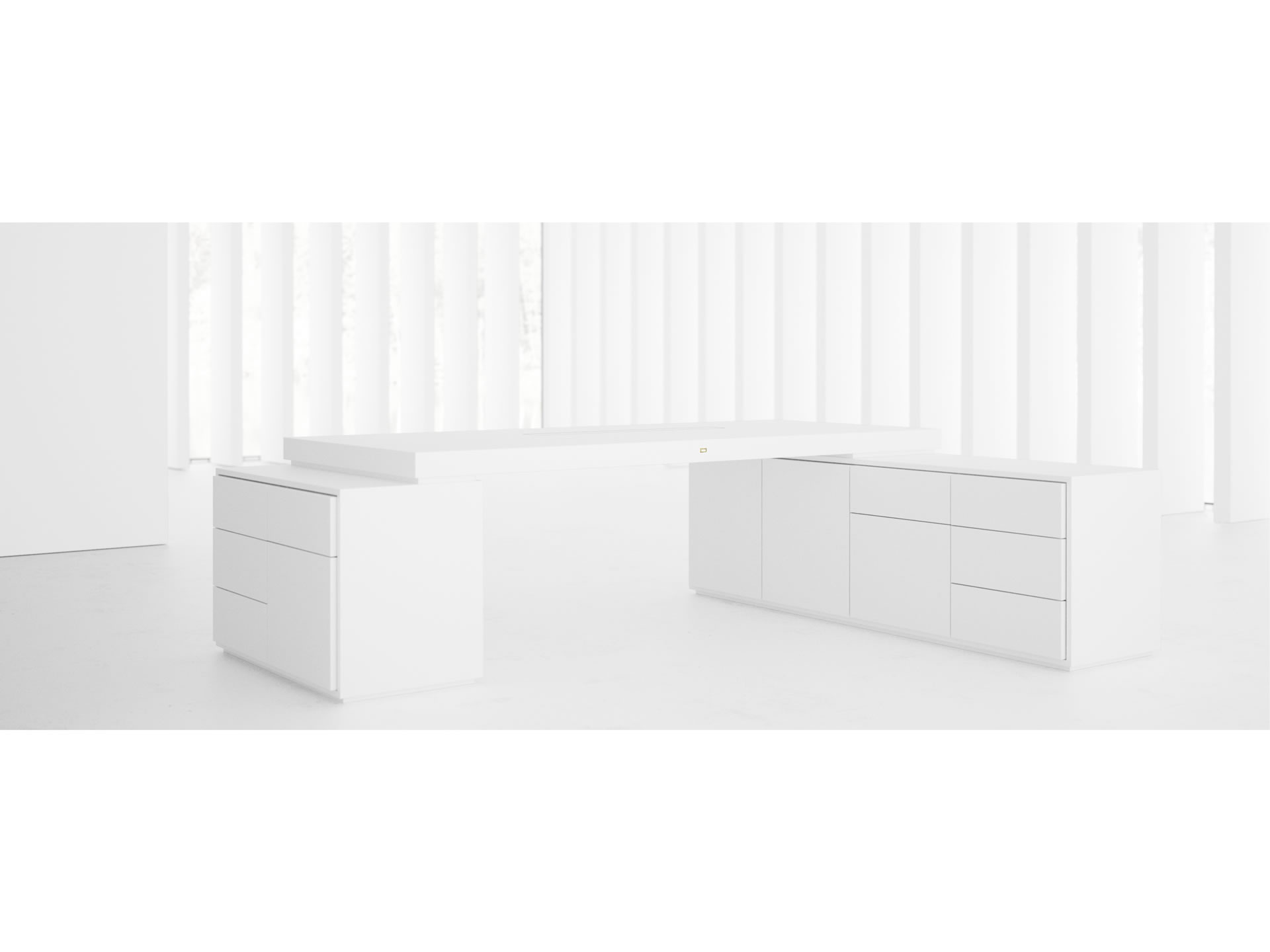 FELIX SCHWAKE DESK IV II I Timeless White Big Corner Desk with Two Sideboards for PC Printer custom built