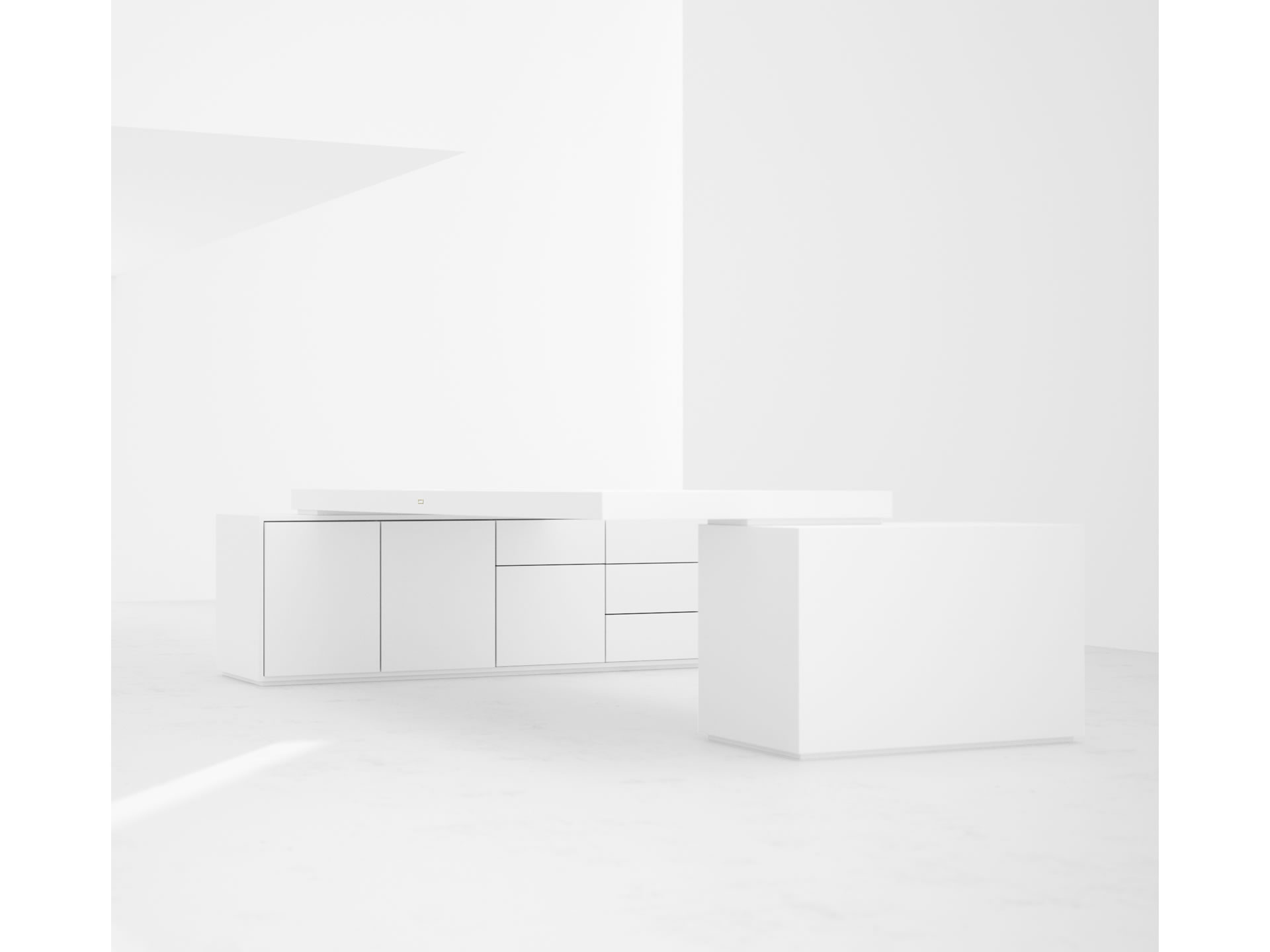 FELIX SCHWAKE DESK IV II Innovation White Large Desk with Two Sideboards for PC Printer custom built