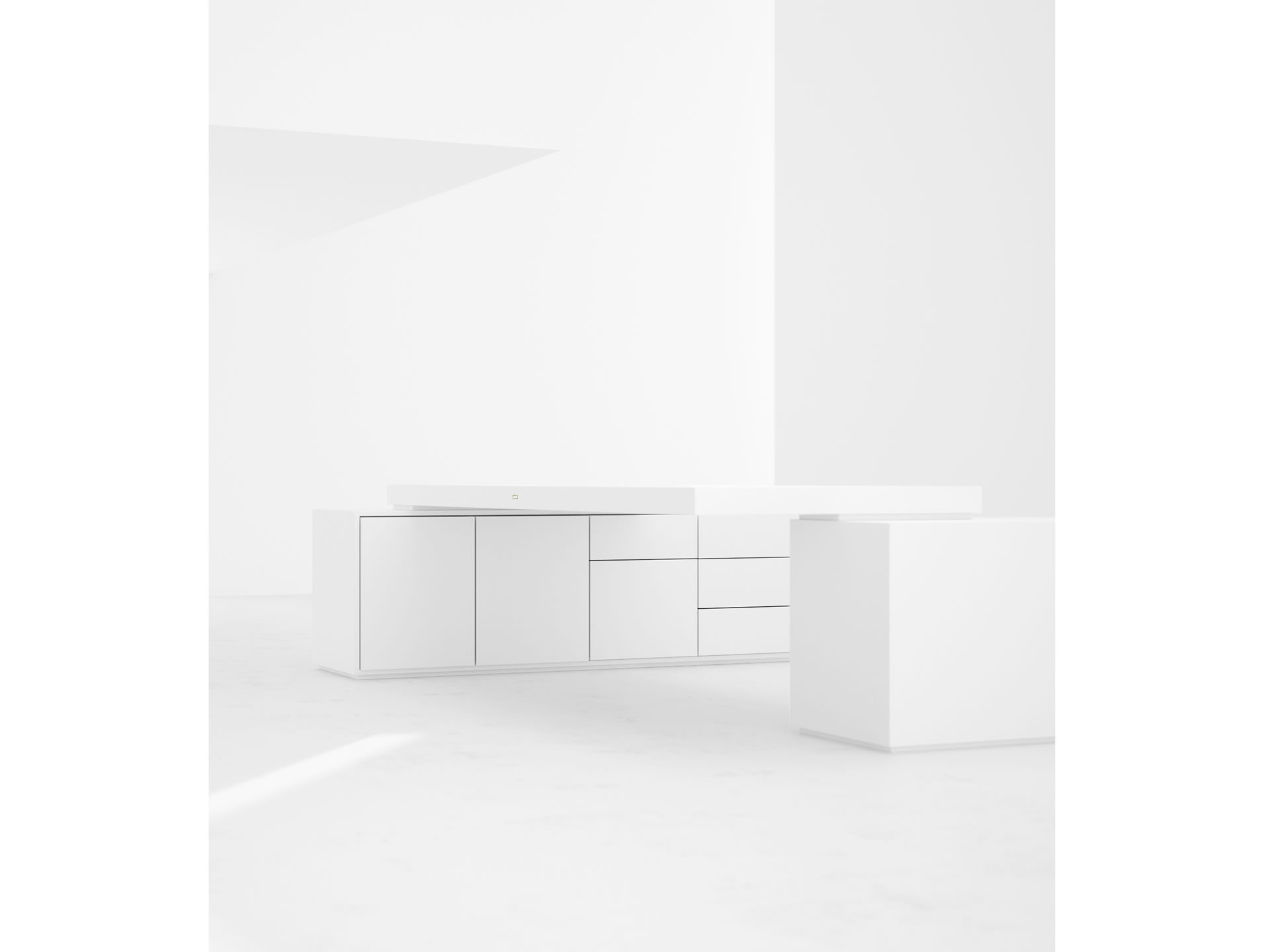 FELIX SCHWAKE DESK IV II Innovation White Large Desk with Two Sideboards for PC Printer handmade