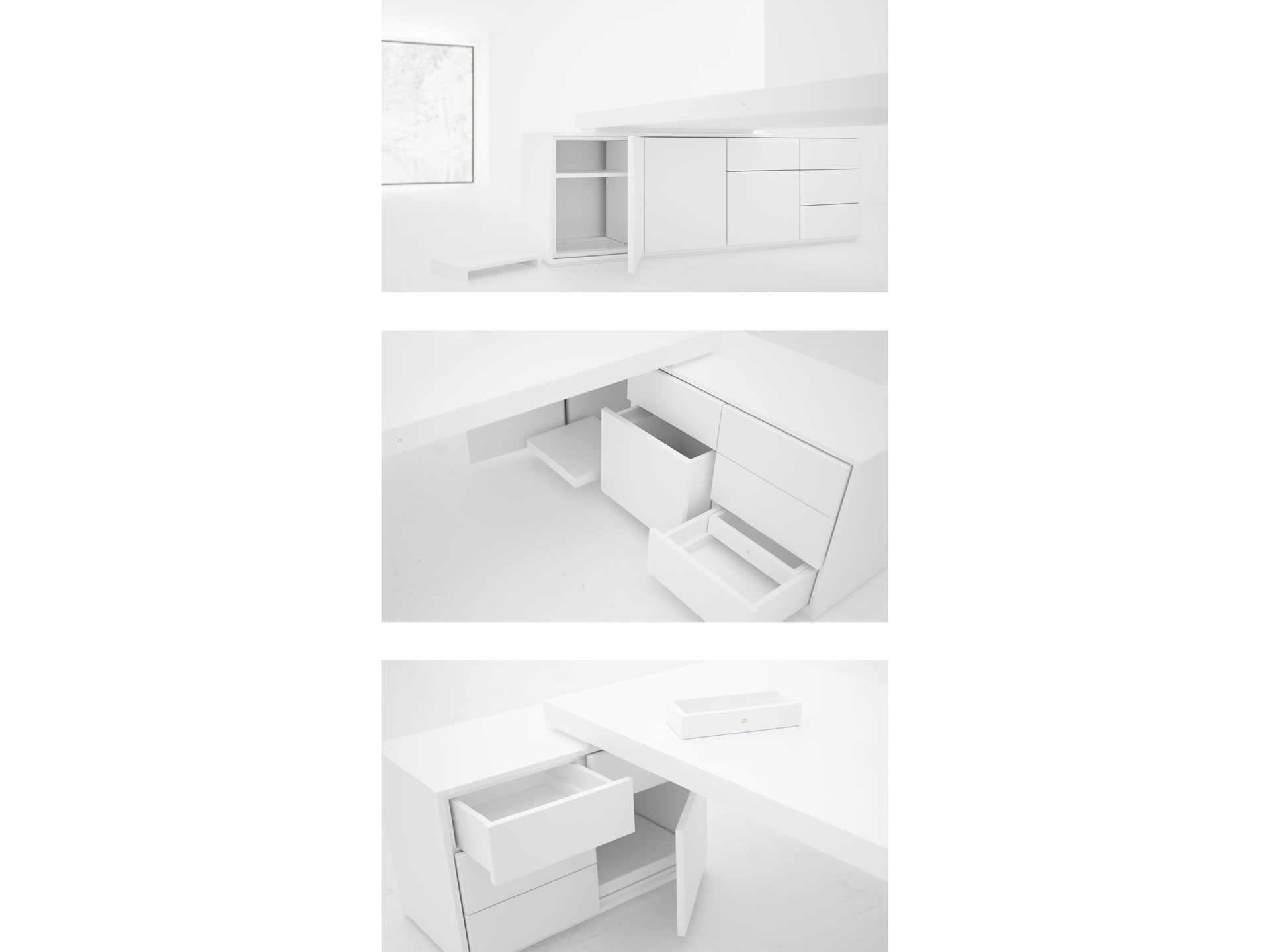FELIX SCHWAKE DESK IV II Timeless White Large Desk with Two Sideboards for PC Printer