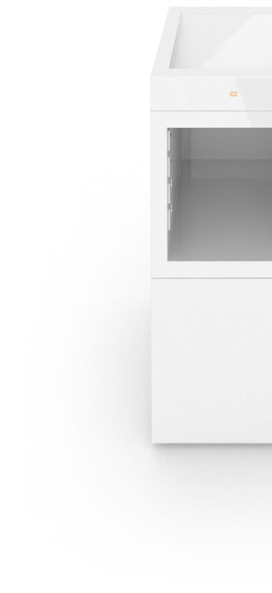 FELIX SCHWAKE SHELVE I II Pedestal Cube High Gloss White Lacquer Mirror polished Piano Finish Innovation Lectern Closed