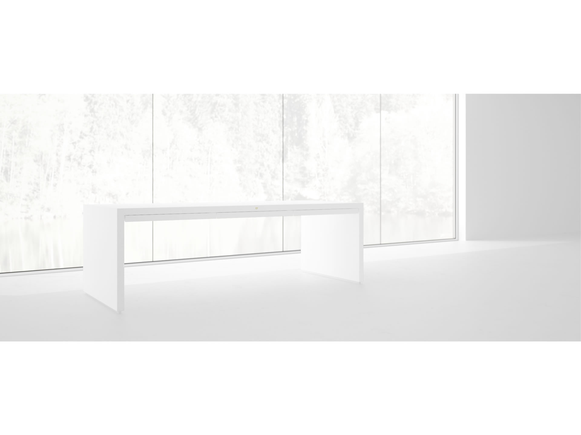 FELIX SCHWAKE TABLE I I Sublime White U Shaped Table with Closed Legs and Drawers