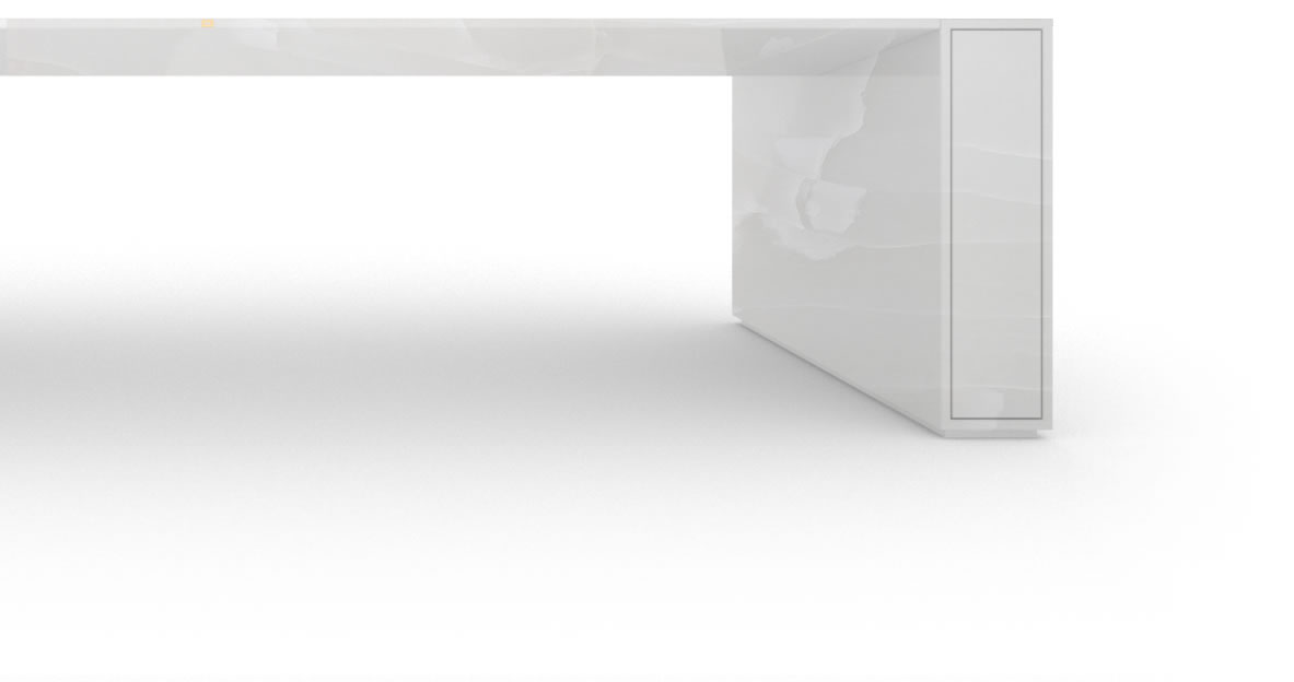 RECHTECK BOARDROOM TABLE I I shelf excerp onyx marble white purist conference table with extensible technology shelfs