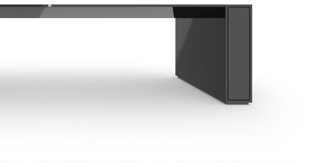 RECHTECK CONFERENCE TABLE I I High Gloss Black Lacquer Mirror polished Piano Finish Cultivate Meeting Table with Extensible Hifi Shelves