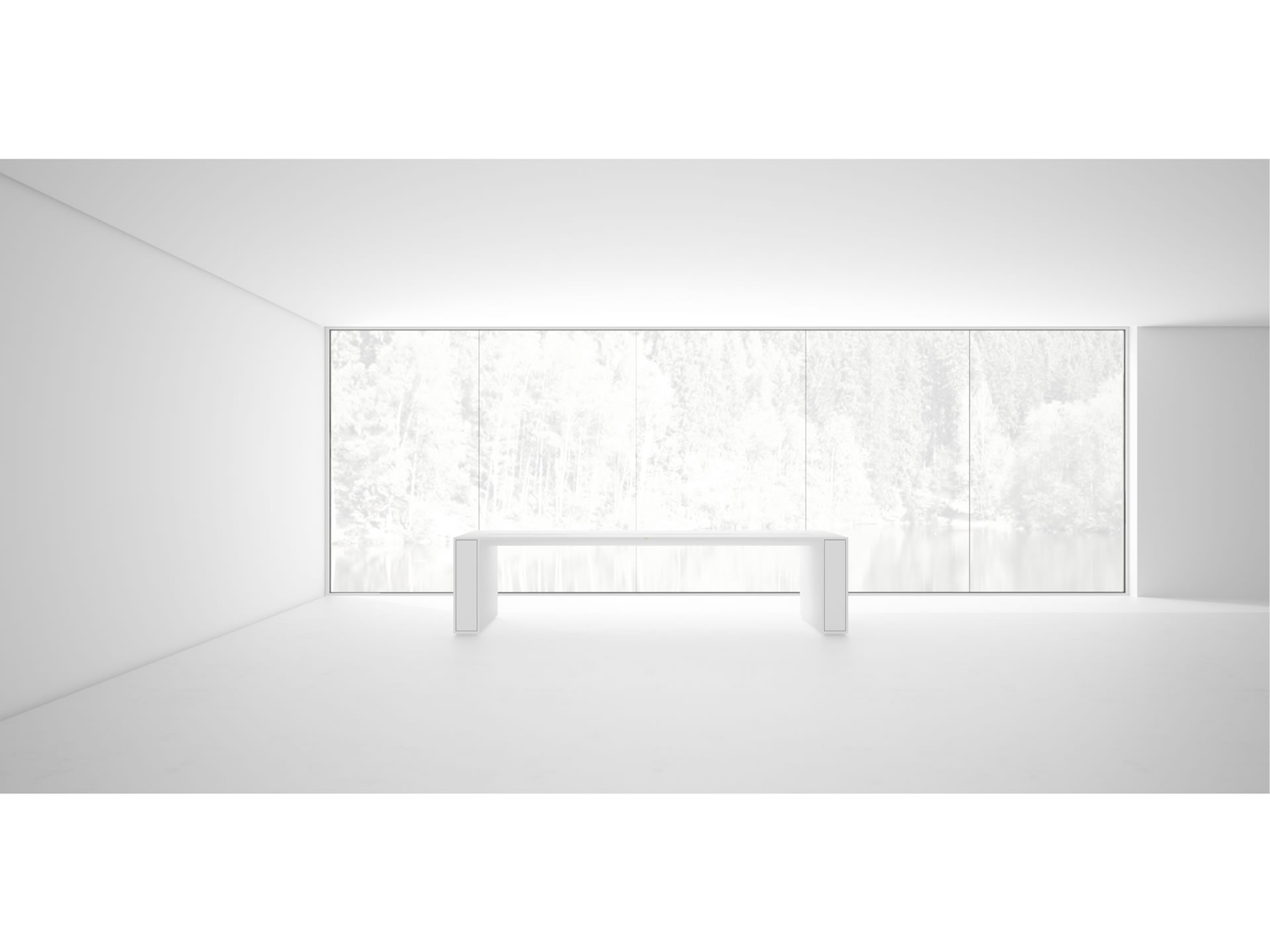 RECHTECK CONFERENCE TABLE I I Timeless White Meeting Table with Extensible Hifi Shelves